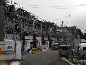 【牛田旭 タウンハウス】外壁と内部造作工事施工中です<