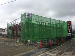 【(仮称)西条町土与丸鍼灸整骨院新築工事】 鉄骨建方完了しました<