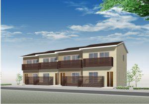 【西条町土与丸タウンハウス新築工事】完成予想図です<