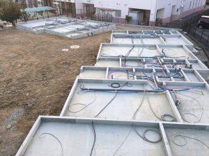 【西条町土与丸タウンハウス新築工事】土台敷き工事を開始しました<