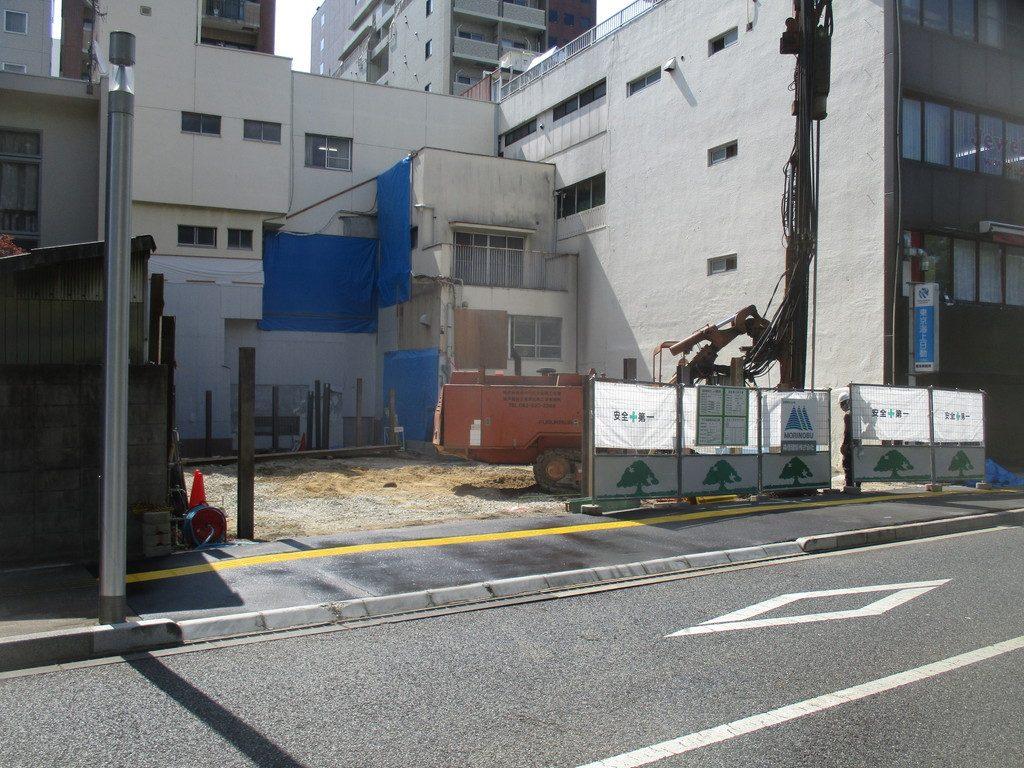 【Aビル新築工事】H鋼打設状況です<