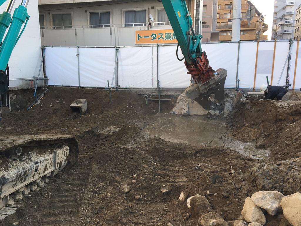【S病院増築工事】既存基礎解体完了しました<